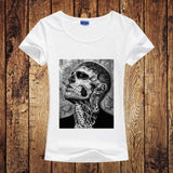 Novelty T shirt Women Fashion Tattoo Man Zombie Boy Women T-shirt Unique Rick Genest Printed Tees Personality Women/Girl Tshirt