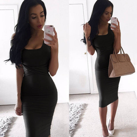 Tank Bodycon Dress Cross Criss Cotton Blend Club Party Slim Dresses vestidos Black Dress