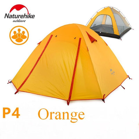 Authentic 4 Person Coating Waterproof Double Layer Camping Tents Aluminum Rod Portable High Mountain Outdoor Tent PU3000mm W Mat