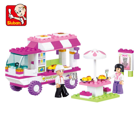 SLUBAN B0155 Pink Dream Snack Car Building Blocks 102pcs/set Particles Bricks