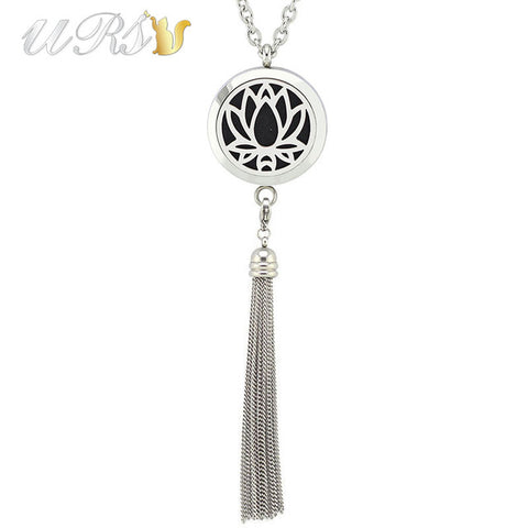 30mm stainless steel magnet aromatherapy linkable locket diffuser pendant necklace jewelry with tassel(free felt pads and chain)