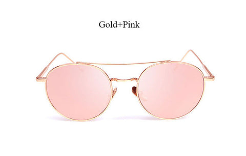 Round Men Women Fashion Mirror Sunglasses Lady  Italy UV400 Sun Glasses UV400 Famous