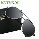 VEITHDIA UV400 Pilot Yurt Sun Glasses Men Polarized Sunglasses Brand Logo