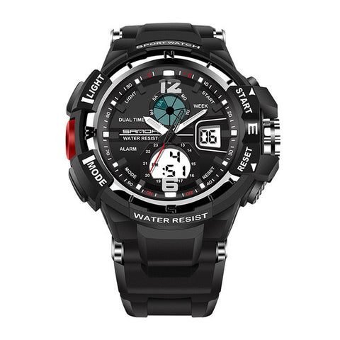 SANDA Dual Movement LED Backlight Display Multifunctional Sports Man Watch