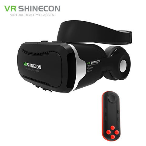 VR Shinecon 4.0 Stereo Virtual Reality Smartphone 3D Glasses Headset Google BOX + Headphone/Control Button for 3.5-5.5' Mobile