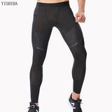YISHIDA Bodyboulding tights Men's Compression Pants printing Fitness tights Elastic Trousers men gym running sport leggings mens