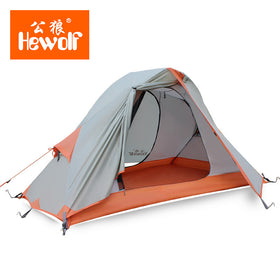 Hewolf 1 person Aluminum pole rain proof hiking travel trekking cycling riding mountaineering fishing beach outdoor camping tent