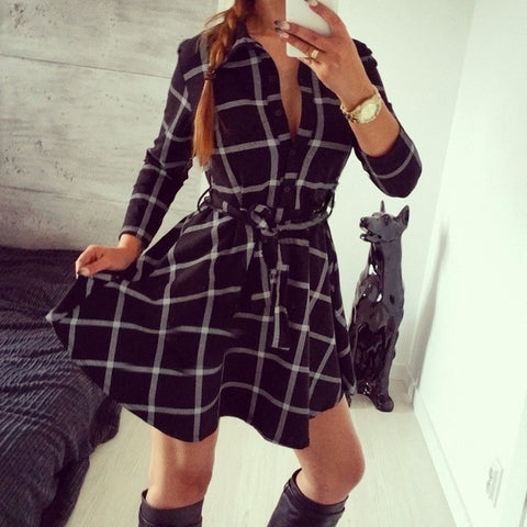Dress Fall Women Check Print Spring Casual Shirt Dress Mini Vestidos Q0035