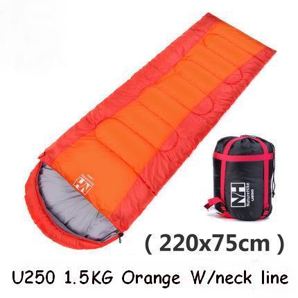 Outdoor Envelope Type Hood Single Sleeping Bag Cotton Splicing Compression Sleeping Bags Camping Spring Summer Blue Orange Green