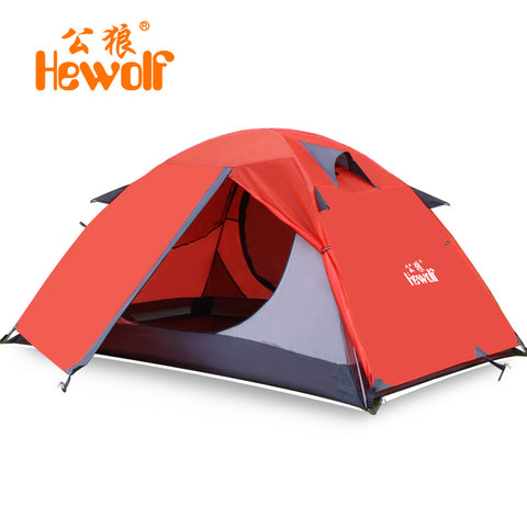 Hewolf 210*140*110cm 2 people 3season double layer professional waterproof rain-proof outdoor camping hiking tent