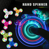 Crystal Clear Fidget Flash Tri-spinner Hand Figet Toys for ADHD Anti-stress Puzzles Toy