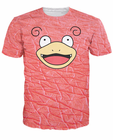 Top Slowpoke Face Unique Double-Sided T-Shirt Pokemon lazy pink water and psychic type Character t shirt tee For Women Men