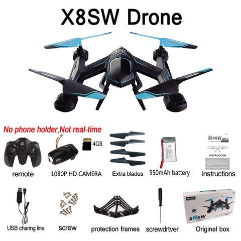 X8SW Wifi Fpv Drone with Camera HD Rc Helicopter Quadcopter 2.4G Professional Dron 720P Flying Camera Helicopter UAV For Sale