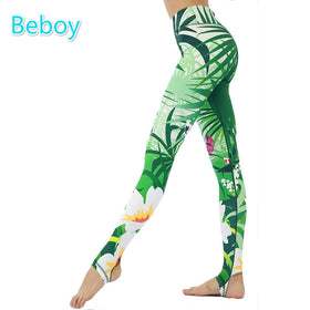 Beboy Beautiful Jungle Printed Yoga Leggings Women High Flexible Athletic Gym Leggings Anti-sweat Running Fitness Foot Tights