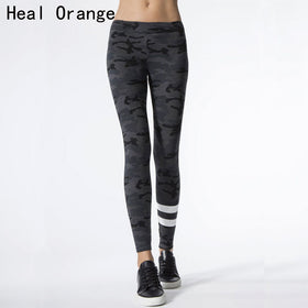 HEAL ORANGE Women Yoga Sports Pants Camouflage Print Elastic Fitness Sports Leggings Sport Tights Women Gym Leggings Women
