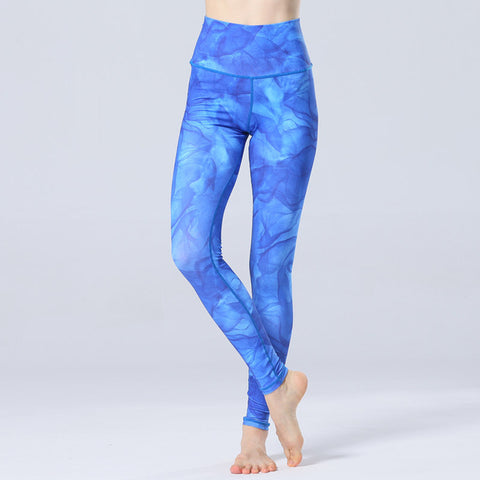 Bluelulu 2017 New Women Blue Printed Sports Yoga Pants Gym Leggings Soft Elastic Workout Jogging Fitness Pants