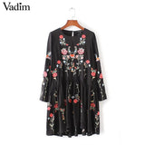 Vintage floral embroidery A-line dress
