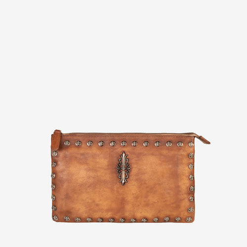 Leather Vintage-Dye Stud Genuine Clutch