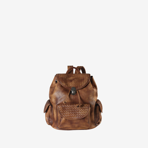 Genuine Leather Woven Pattern Style Backpack