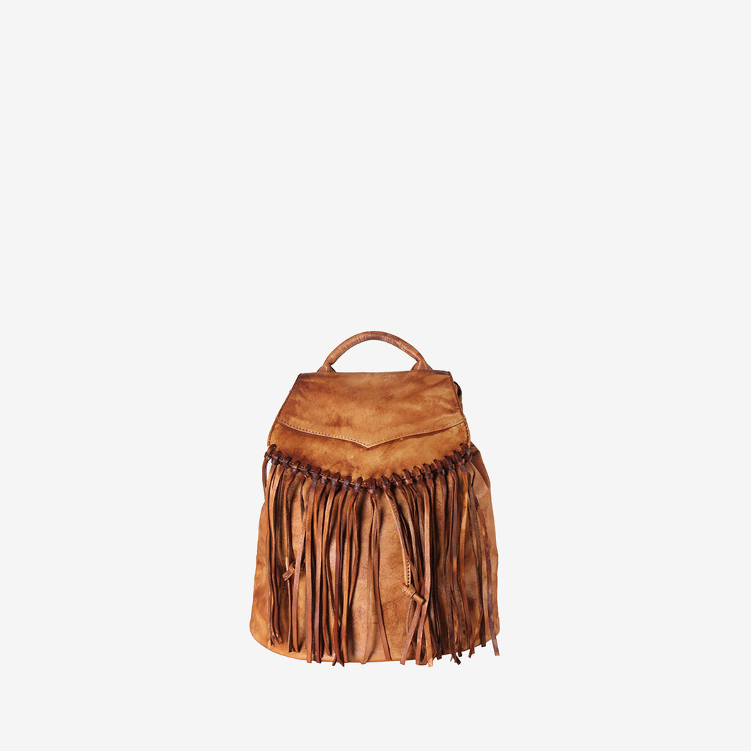 Genuine Leather Tassel Fashion Backpack