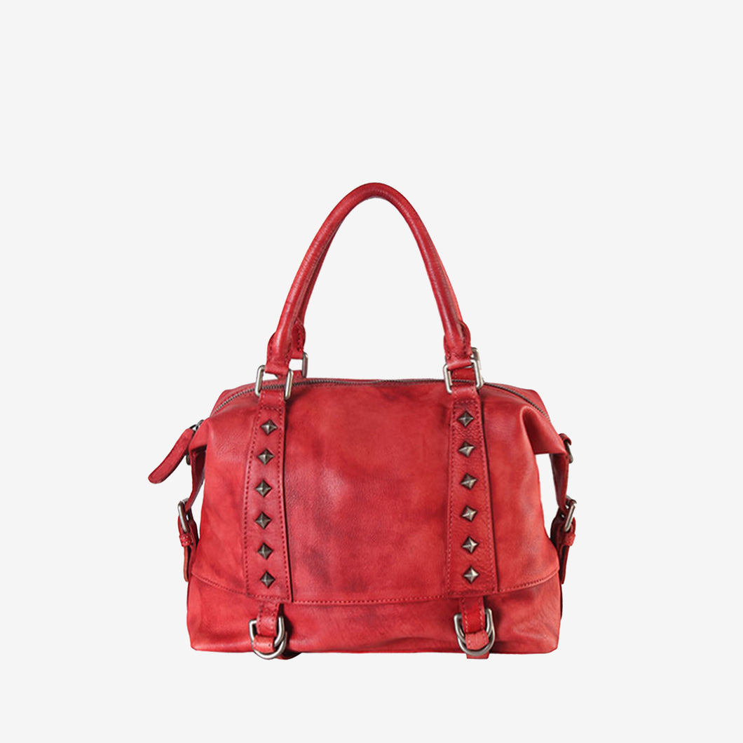 Genuine Leather Studded Small Tote Bag