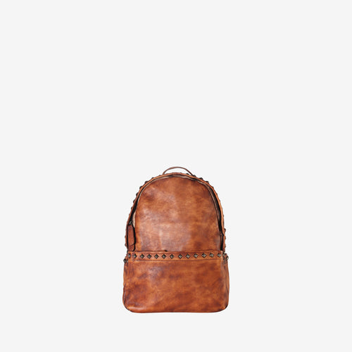 Genuine Leather Studded Simple Backpack