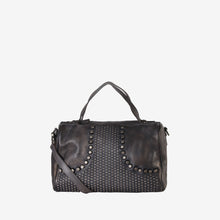 Genuine Leather Studded Front Decor Tote Handbag