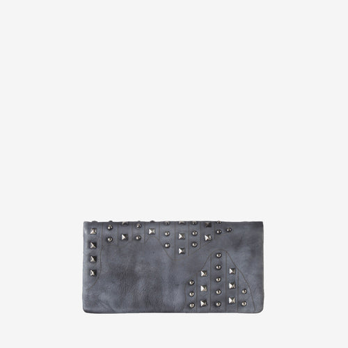 Leather Studded Snap Closure Wallet