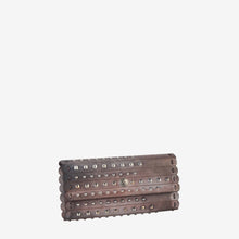 Leather Studded Mixed Color Snap Closure Wallet