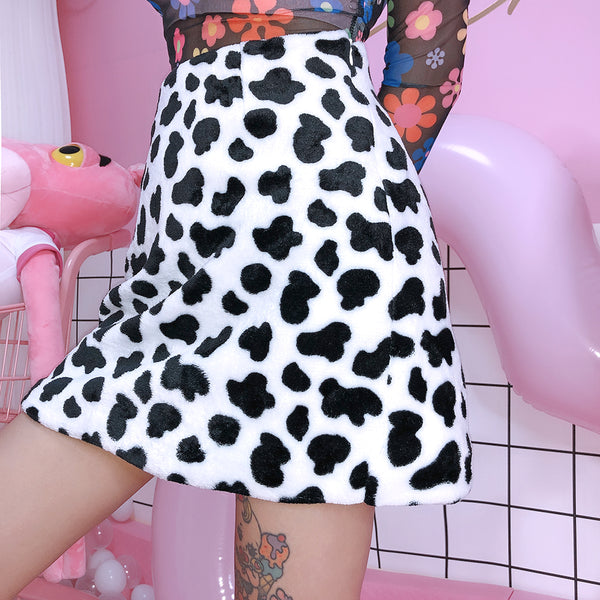 Black and White Furry Cow Print Mini Skirt by Mighty Mighty