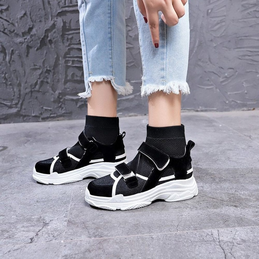 Black on Black Hook & Loop Sock Sneakers