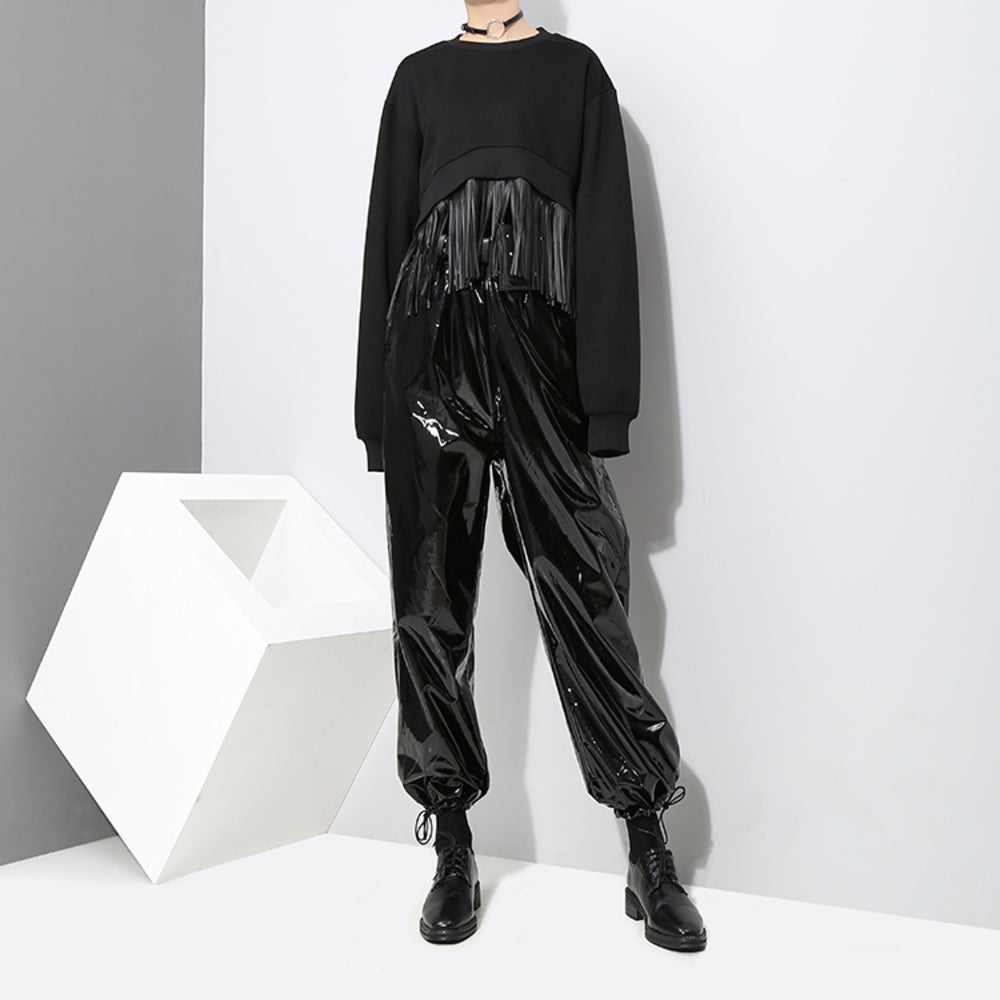 Patent Leather Track Pants