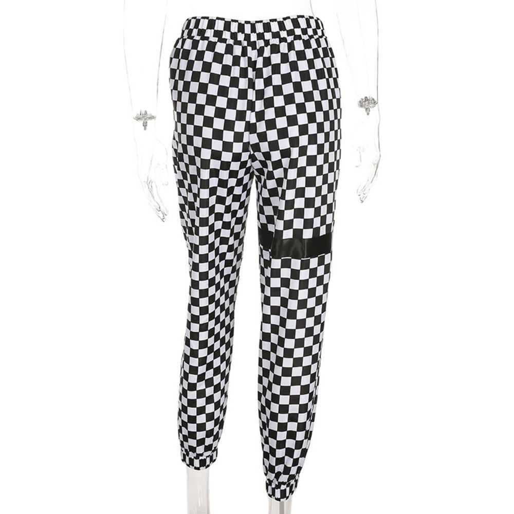Thigh Band Checkered Joggers