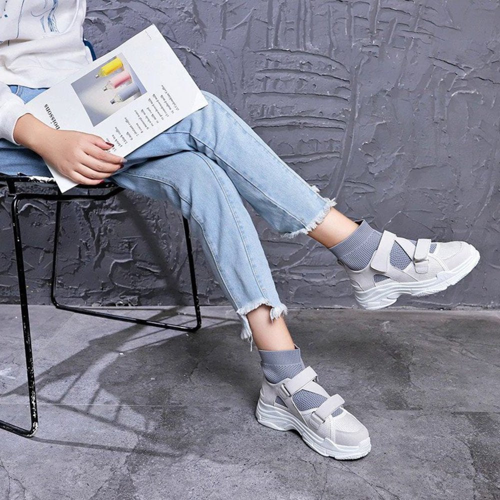 Grey Hook & Loop Sock Sneakers