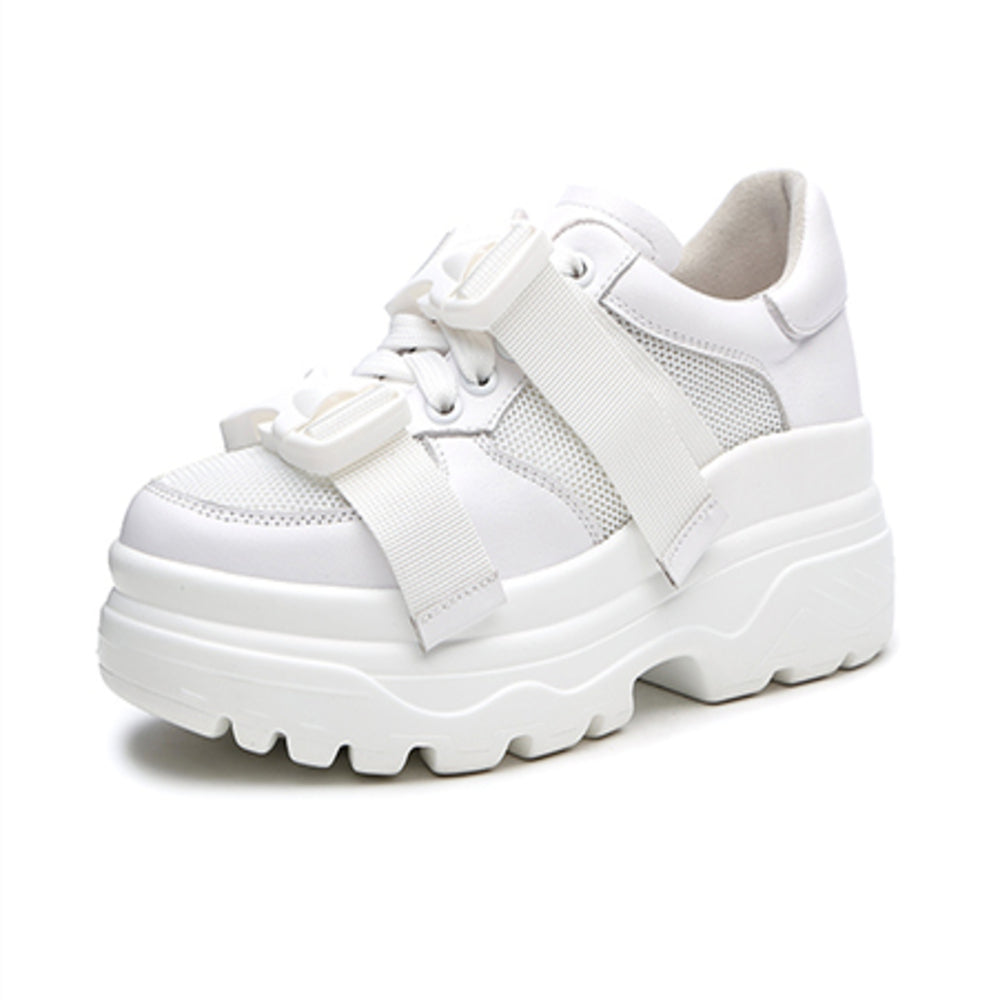 White Snap Platform Sneakers