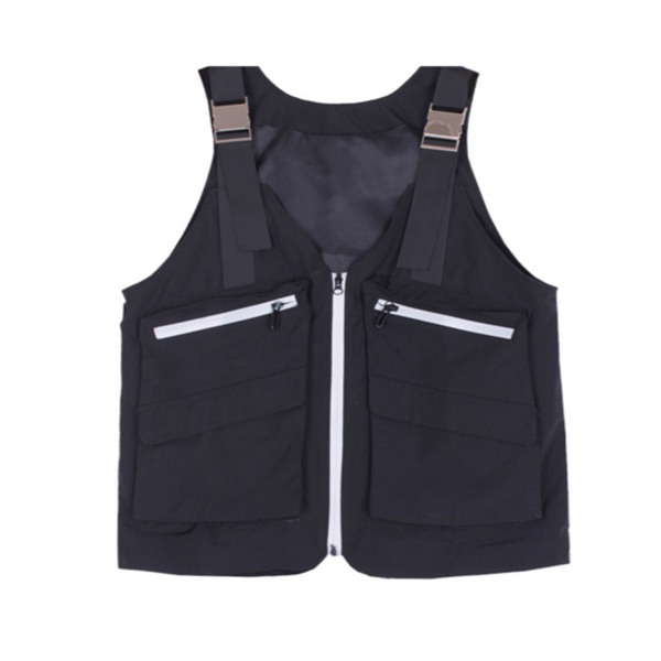 Utility Tooling Vest - Black vest with silver buckles