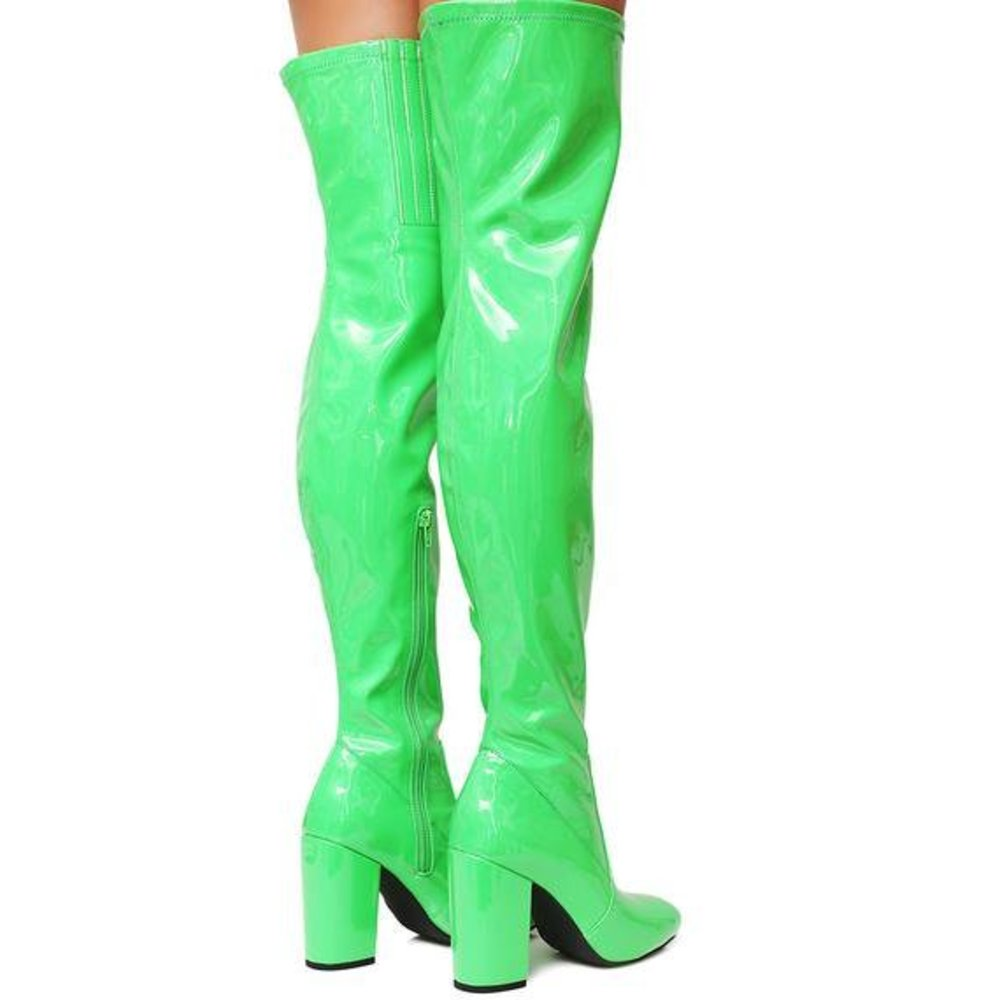 Neon Green Vinyl Thigh-High Boots