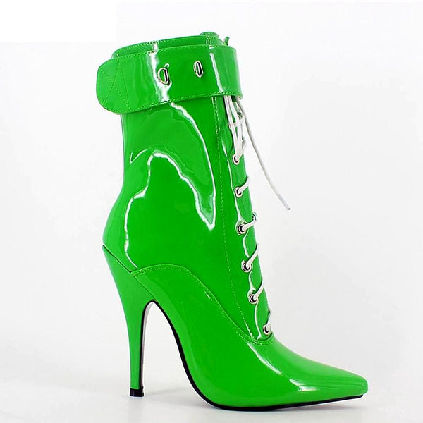 Money Green Vinyl Lace-Up Boot