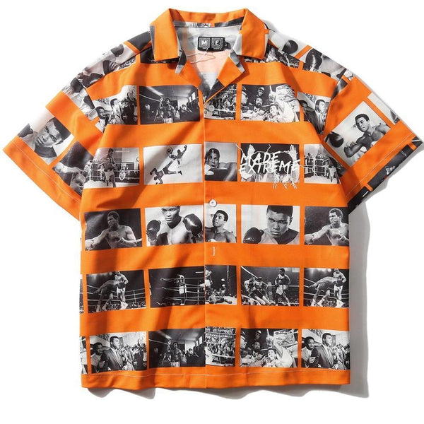 Orange Muhammad Ali Photo Shirt