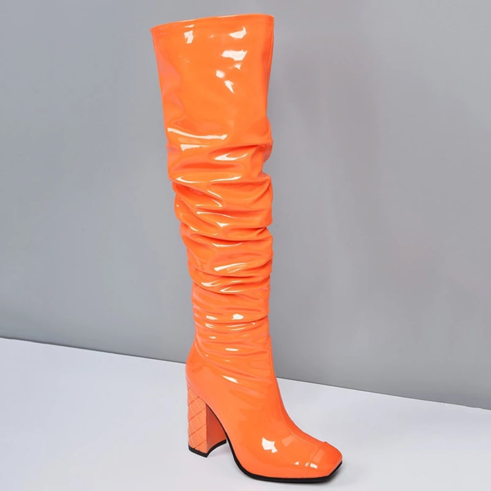 Orange Patent Leather Slouchy Knee-High Boot by Mighty Mighty