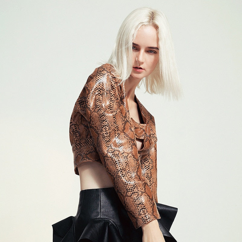Faux Snake Print Cropped Top by Mighty Mighty