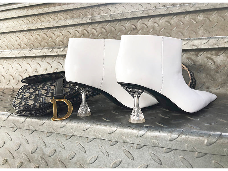 Crystal Pedestal Heel Booties by Mighty Mighty