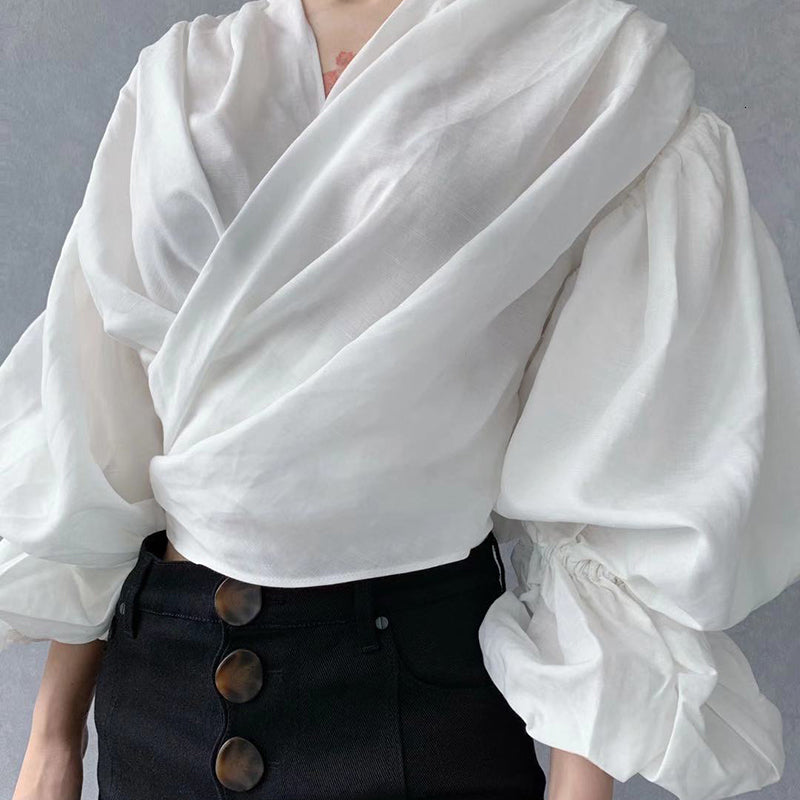 White Lantern Cropped Top by Mighty Mighty