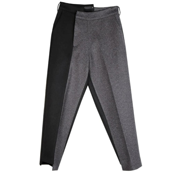 Black and Grey Asymmetrical Wool Pant by Mighty Mighty.