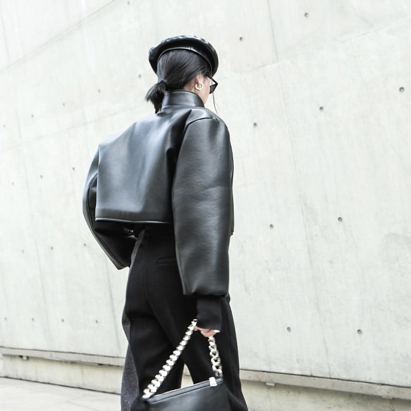 Black Vegan Leather Cropped Jacket by Mighty Mighty