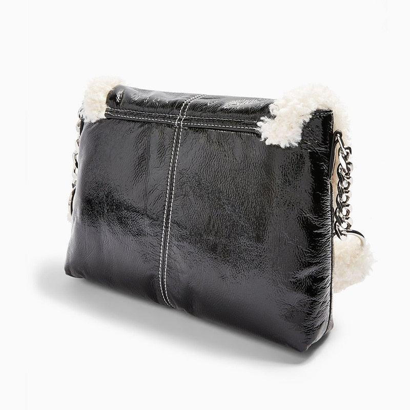 Black Shearling Trim Shoulder Bag by Mighty Mighty
