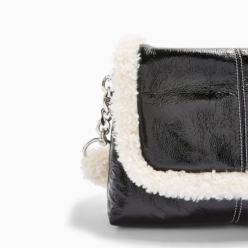Shearling Trim Shoulder Bag
