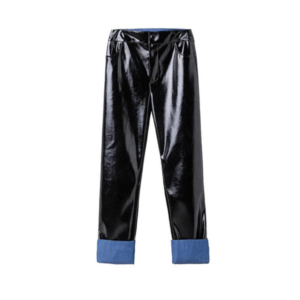 Straight Leg Patent Leather Pants