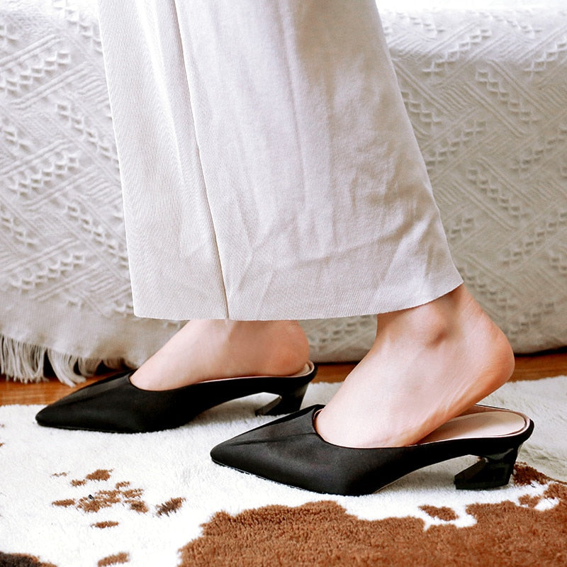 Black Silk Slipper