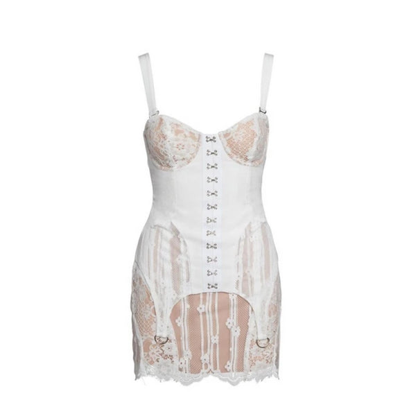 White Eyelet Corset Dress by Mighty Mighty